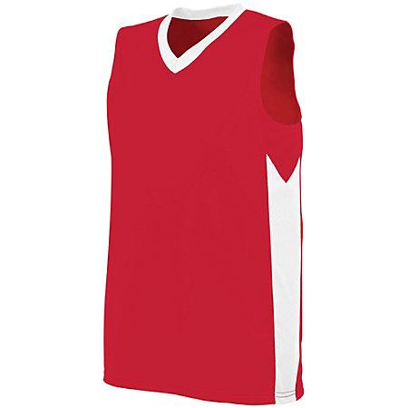 Ladies Block Out Jersey Red/white Basketball Single & Shorts