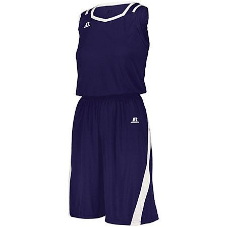 Ladies Athletic Cut Shorts Purple/white Basketball Single Jersey &