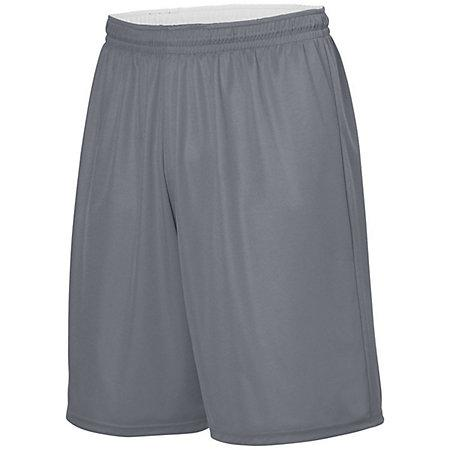 Youth Reversible Wicking Shorts Graphite/white Basketball Single Jersey &