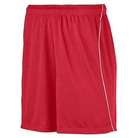 Youth Wicking Soccer Shorts With Piping Red/white Single Jersey &