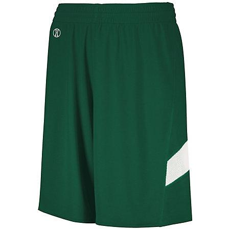 Youth Dual-Side Single Ply Basketball Shorts Forest/white Jersey &