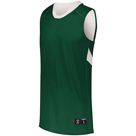 Youth Dual-Side Single Ply Basketball Jersey Forest/white & Shorts