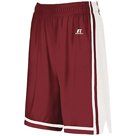 Ladies Legacy Basketball Shorts Cardinal/white Single Jersey &