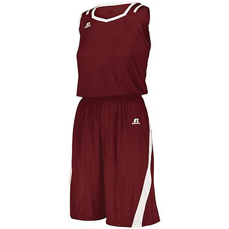 Ladies Athletic Cut Shorts Cardinal/white Basketball Single Jersey &