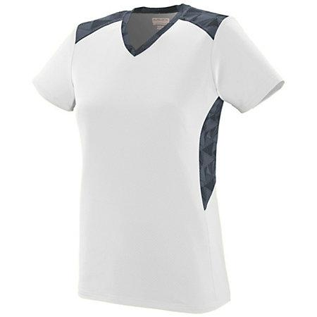 Ladies Vigorous Jersey White/graphite/black Print Softball