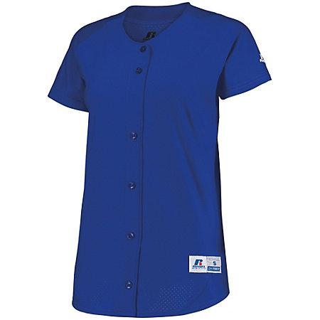 Ladies Stretch Faux Button Jersey Royal Softball