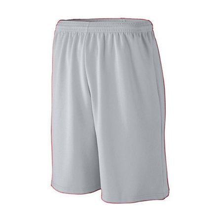 Youth Longer Length Wicking Mesh Athletic Shorts Silver Grey Basketball Single Jersey &