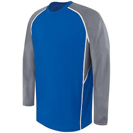 Adult Long Sleeve Evolution Top Royal/graphite/white Basketball Single Jersey & Shorts