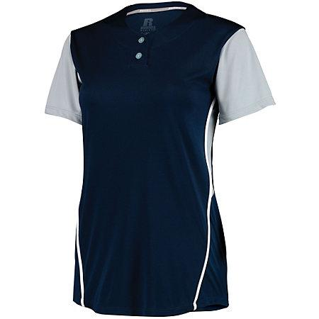 Ladies Performance Two-Button Color Block Jersey Navy/baseball Grey Softball