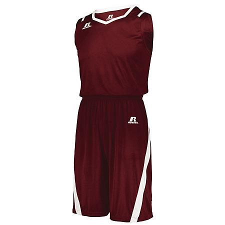 Athletic Cut Shorts Cardinal/white Adult Basketball Single Jersey &