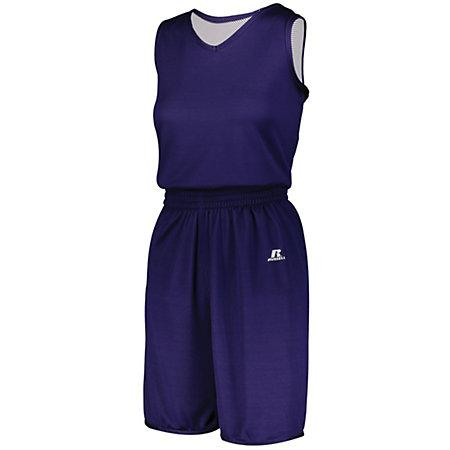 Ladies Undivided Solid Single-Ply Reversible Jersey Purple/white Basketball Single & Shorts