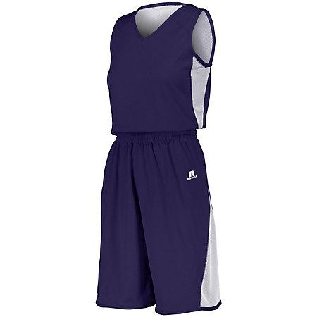 Ladies Undivided Single Ply Reversible Shorts Purple/white Basketball Jersey &