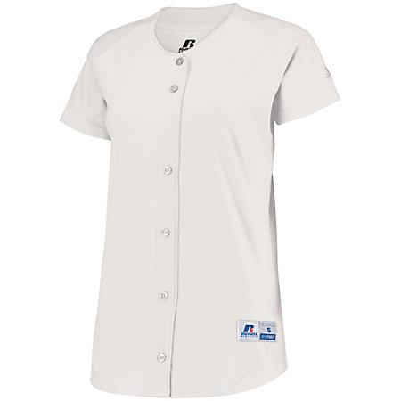 Ladies Stretch Faux Button Jersey White Softball