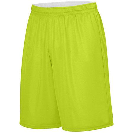 Youth Reversible Wicking Shorts Lime/white Basketball Single Jersey &