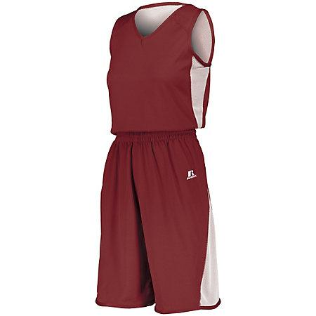 Ladies Undivided Single Ply Reversible Shorts Cardinal/white Basketball Jersey &