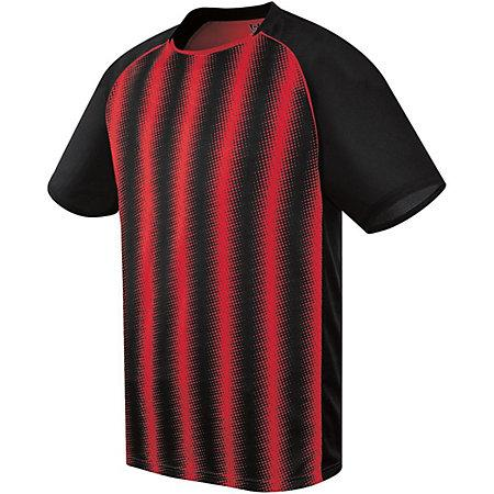 Youth Prism Soccer Jersey Black/scarlet Single & Shorts