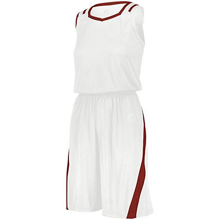 Ladies Athletic Cut Shorts White/true Red Basketball Single Jersey &