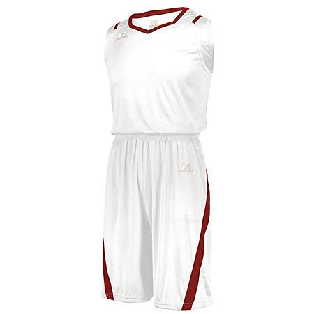 Athletic Cut Shorts White/true Red Adult Basketball Single Jersey &