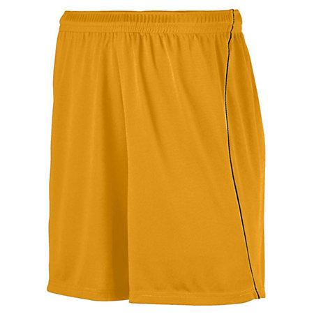 Youth Wicking Soccer Shorts With Piping Gold/black Single Jersey &