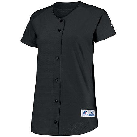Ladies Stretch Faux Button Jersey Black Softball