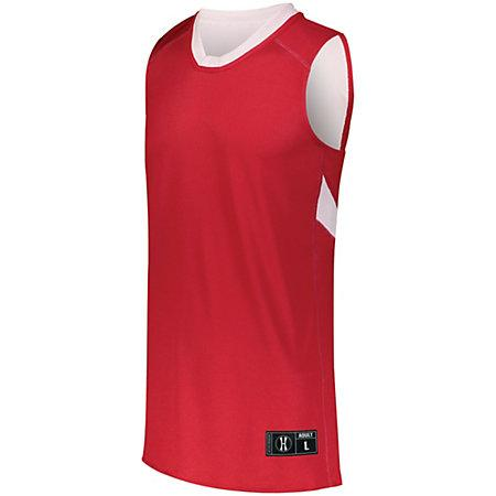 Youth Dual-Side Single Ply Basketball Jersey Scarlet/white & Shorts