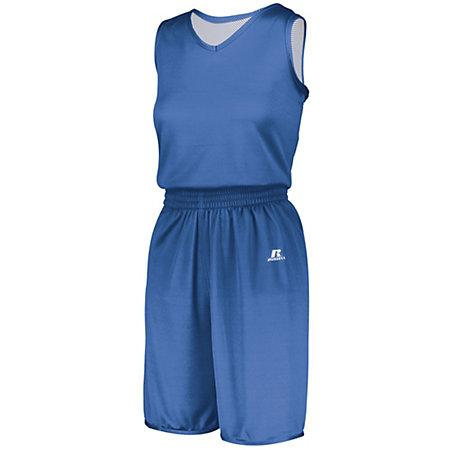 Ladies Undivided Solid Single-Ply Reversible Jersey Columbia Blue/white Basketball Single & Shorts