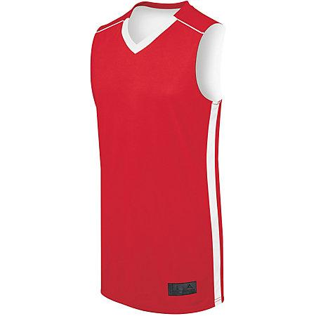 Adult Competition Reversible Jersey Scarlet/white Basketball Single & Shorts