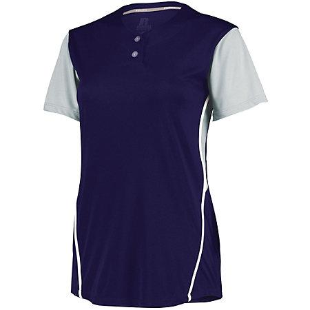Ladies Performance Two-Button Color Block Jersey Purple/baseball Grey Softball