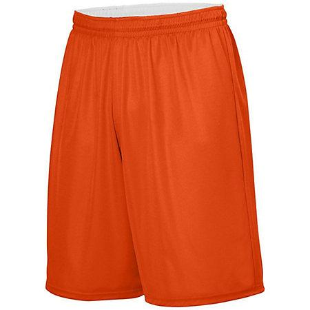 Youth Reversible Wicking Shorts Orange/white Basketball Single Jersey &