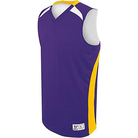 Youth Campus Reversible Jersey Purple/athletic Gold/white Basketball Single & Shorts