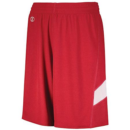Youth Dual-Side Single Ply Basketball Shorts Scarlet/white Jersey &