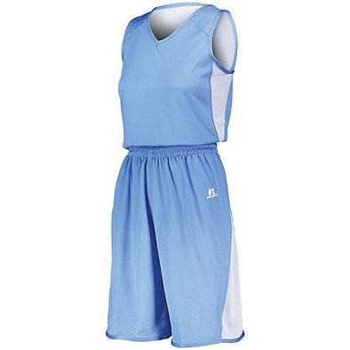 Ladies Undivided Single Ply Reversible Shorts Columbia Blue/white Basketball Jersey &