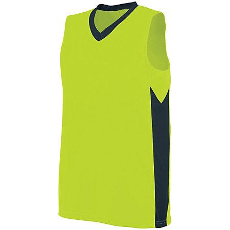 Ladies Block Out Jersey Lime/slate Basketball Single & Shorts