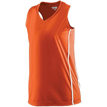 Ladies Winning Streak Racerback Jersey Orange/white Basketball Single & Shorts