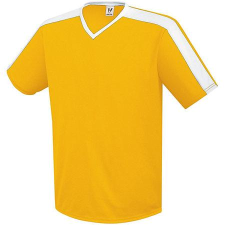 Youth Genesis Soccer Jersey Athletic Gold / white Single y pantalones cortos