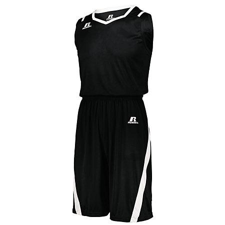 Athletic Cut Jersey negro / blanco adulto Baloncesto Single & Shorts