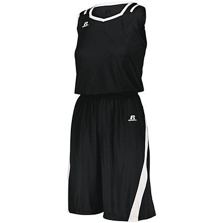 Ladies Athletic Cut Shorts Black/white Basketball Single Jersey &