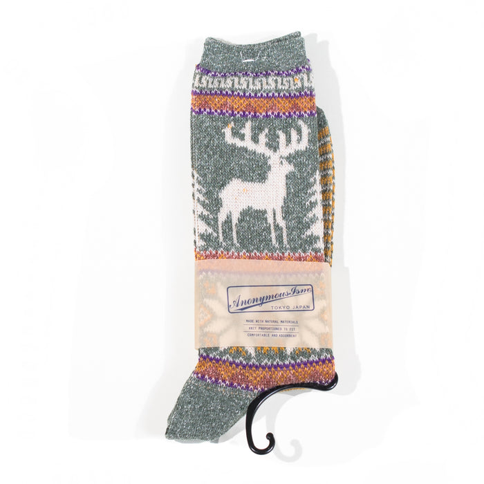Anonymous ism - Holiday Green Deer & Snow Knit Socks