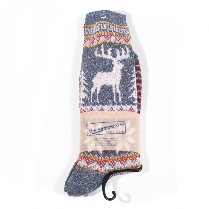 Anonymous ism - Holiday Navy Deer & Snow Knit Socks