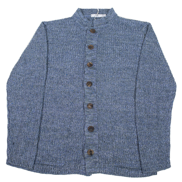 Inis Meáin - Lichen Nehru Collar Button Up Sweater