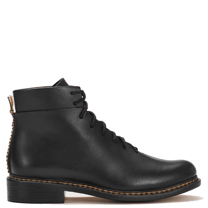 Feit - Black Wholecut Braided Lace Up Boot