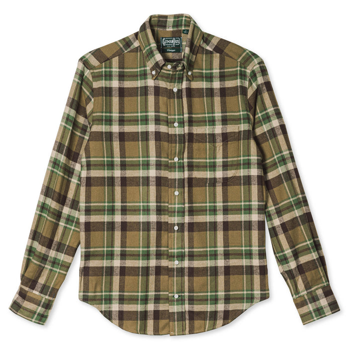 Gitman Vintage - Olive Country Plaid Flannel Button Down Shirt