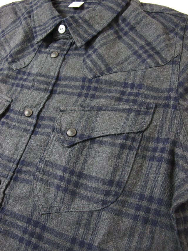 Pure Blue Japan - Grey Indigo Check Flannel Western Shirt