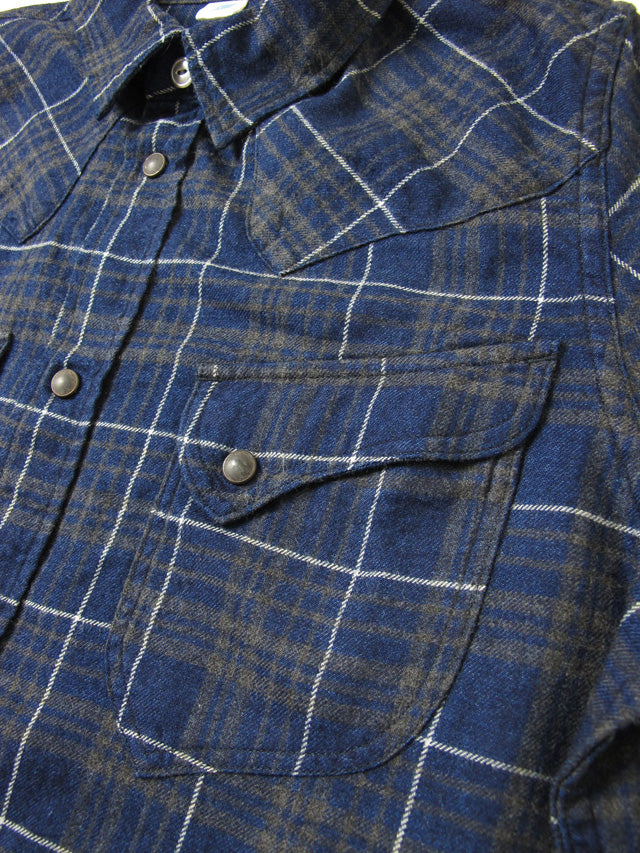 Pure Blue Japan - Navy Indigo Check Flannel Western Shirt