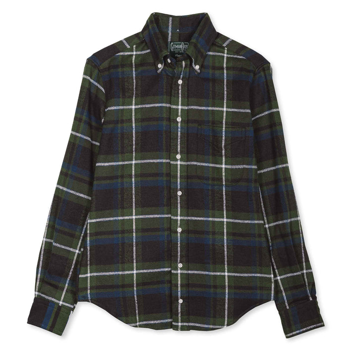 Gitman Vintage - Olive Rough Check Flannel Button Down Shirt