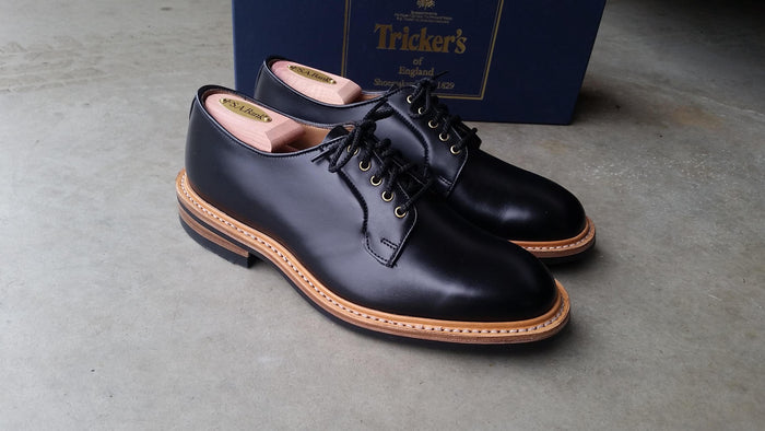 Tricker's - Black Shell Cordovan Robert Derby Shoe with Brass Eyelets (DEPOSIT PAYMENT)