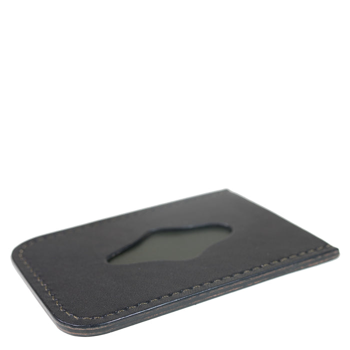 Waxwing Leather - Black/Olive Minimal Card Holder