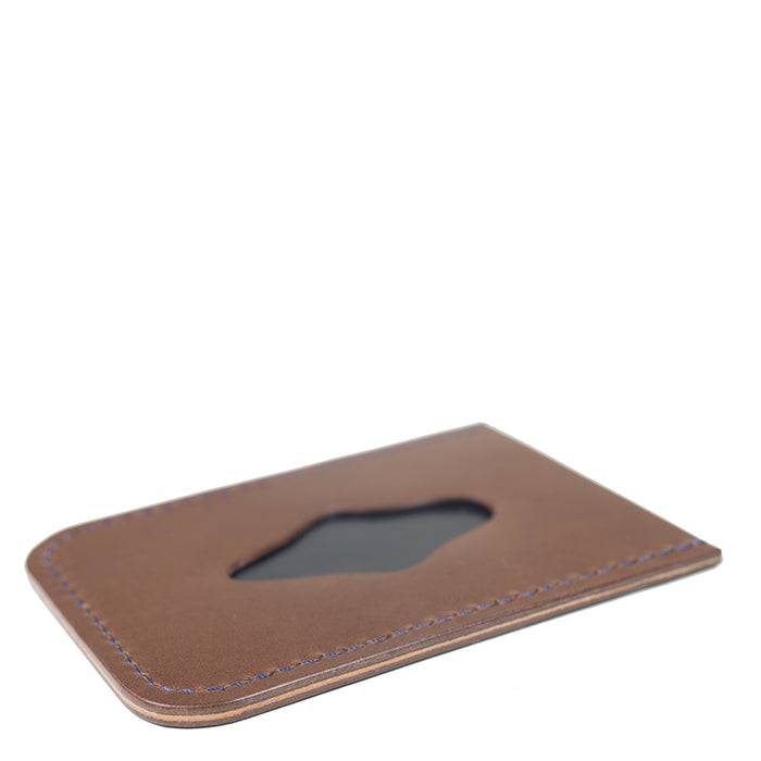 Waxwing Leather - Brown/Navy Minimal Card Holder