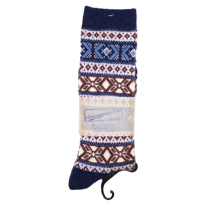 Anonymous ism - Blue Pattern Yarn Socks