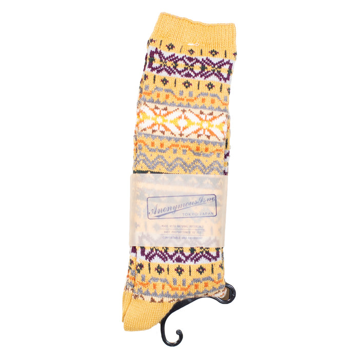 Anonymous ism - Yellow Fairisle Crew Socks
